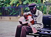 John Malone Art Work Digital Art Posters - Blues Guitar Player in New Orleans Poster by John Malone