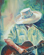 African Americans Painting Posters - Blues Man Poster by Sharon Sorrels