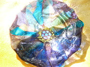 Fused Glass Prints - Blues Mandala Bowl Print by Donna Spencer