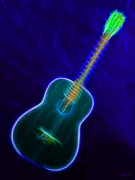 Music Lovers - Blues Neon Guitar by Hanza Turgul