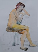 Figure Study Drawings Prints - Blues Print by Nika Zakharov