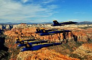Blue Angels Framed Prints - Blues Over Zion Framed Print by Benjamin Yeager