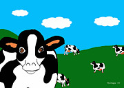Cows Drawings Posters - BlueSky Cows Poster by Rachel Lowry