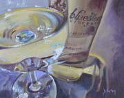 Wine Glasses Paintings - Bluestone Traminette and Glass by Donna Tuten