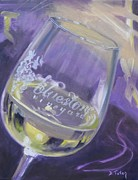 Wine Bottle Paintings - Bluestone Vineyard Wineglass by Donna Tuten