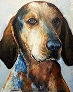 Dog Artist Painting Prints - Bluetick Coonhound Print by Dottie Dracos