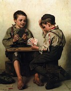 Playing Cards Painting Posters - Bluffing Poster by Pg Reproductions