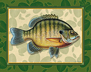 Pads Painting Metal Prints - Blugill and Pads Metal Print by JQ Licensing