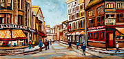 Montreal Storefronts Paintings - Blumenthals On Craig Street by Carole Spandau