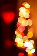 Heart-shaped Lights Posters - Blurred christmas lights Poster by Gaspar Avila