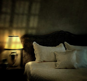 Blurry Image Of A Vintage Looking Bedroom Print by Sandra Cunningham