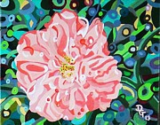 Camellia Paintings - Blushing Camellia by Deborah Glasgow