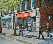 Quebec Streets Paintings - Blvd Monk Ville Emard by Reb Frost