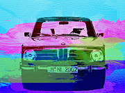German Classic Cars Prints - BMW 2002 Front Watercolor 1 Print by Irina  March