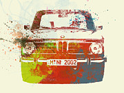 German Classic Cars Prints - BMW 2002 Front Watercolor 2 Print by Irina  March