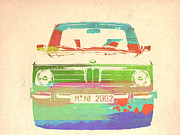 German Classic Cars Prints - BMW 2002 Front Watercolor 3 Print by Irina  March