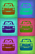 Vintage Car Digital Art Framed Prints - BMW 2002 Pop Art 2 Framed Print by Irina  March