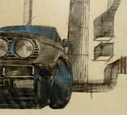 Floral Photographs Drawings - BMW car by Mirek Bialy