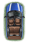 Automotive Art Posters - BMW Mini Cooper S Cabrio Blue Poster by David Kyte