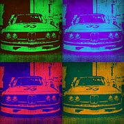 Bmw Vintage Cars Posters - BMW Racing Pop Art 1 Poster by Irina  March