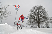Wintry Photo Prints - BMX Flatland in the snow - Monika Hinz jumping Print by Matthias Hauser