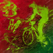 Bmx Posters - BMX Rider Abstract Poster by David G Paul