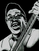 Guitar Drawings Posters - Bo Diddley Poster by Benjamin Butcher