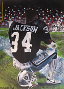 Running Back Painting Framed Prints - Bo Jackson II Framed Print by Jeremy Moore