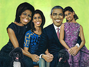 First Ladies Painting Framed Prints - Bo sunny and the Obamas Framed Print by Henry Frison