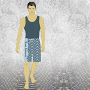 Athletic Digital Art - Boardshorts 10 by Janet Carlson