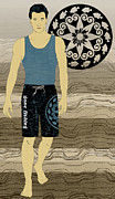 Athletic Digital Art - Boardshorts 6 by Janet Carlson