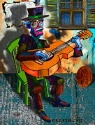 Guitar Player Mixed Media Prints - Boardwalk Bard Print by Dean Gleisberg
