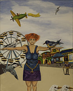 Ac Paintings - Boardwalk Birdwoman by Susan Culver