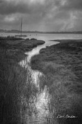 Dave Gordon Prints - Boat and Tidal Stream Print by Dave Gordon