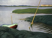Tranquil Paintings - Boat at Berville by Felix Edouard Vallotton