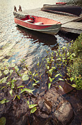 Green Boat Prints - Boat at dock  Print by Elena Elisseeva