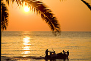 Tropical Pyrography Framed Prints - Boat at sea Sunset golden color with palm Framed Print by Raimond Klavins