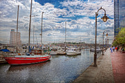Maryland Posters - Boat - Baltimore MD - One fine day in Baltimore  Poster by Mike Savad