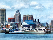 Maryland Posters - Boat - Baltimore Skyline and Harbor Poster by Susan Savad