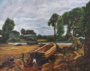 Old Masters Art - Boat building on the stour by Morgos Silwanis