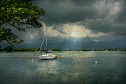 Dark Blue Prints - Boat - Canandaigua NY - Tranquility before the storm Print by Mike Savad