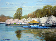 Tidal Basin Paintings - Boat Dock Spring - Washington DC by Armand Cabrera