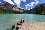 Pine Forest Prints - Boat Docked on Emerald Lake Print by George Oze