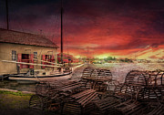 Seaport Prints - Boat - End of the season  Print by Mike Savad