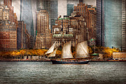 Vintage River Scenes Posters - Boat - Governors Island NY - Lower Manhattan Poster by Mike Savad