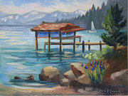 Lake Tahoe Paintings - Boat House Carnelian Bay by Karin  Leonard