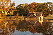 Riverscape - Early Autumn Prints - Boat House Reflection / Maynooth Print by Barry O Carroll