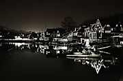 Rowing Crew Digital Art Prints - Boat House Row - In the Dark of Night Print by Bill Cannon