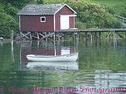 New England Ocean Pyrography Framed Prints - Boat House Framed Print by Susan Russo