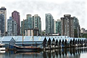 Boats On Water Digital Art Posters - Boat Houses in Vancouver Poster by John and Veronica Vandenburg
